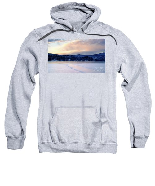 Winter Sunset On Wilson Lake In Wilton Me  -78091-78092 Sweatshirt