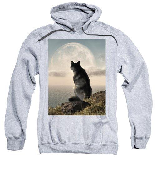 Wolf Watching The Moonrise Sweatshirt
