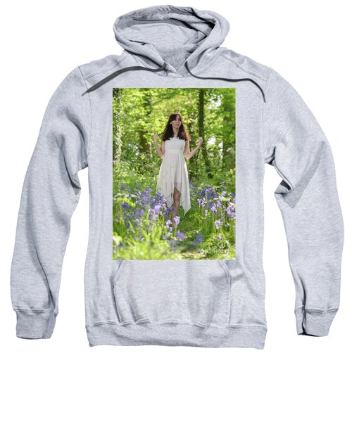 Woman In Bluebell Woodland Sweatshirt