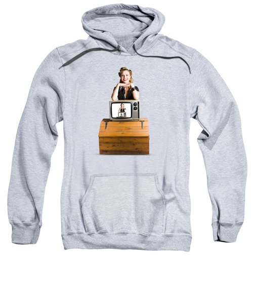 Woman  In Front Of Tv Camera Sweatshirt by Jorgo Photography - Wall Art Gallery