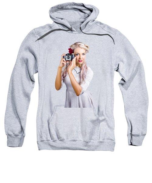 Woman Using Retro Film Camera Sweatshirt by Jorgo Photography - Wall Art Gallery