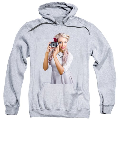 Woman Using Retro Film Camera Sweatshirt