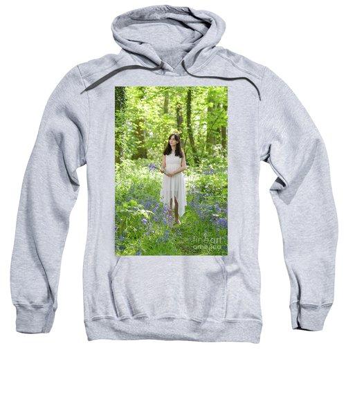 Woman Walking Through Bluebells Sweatshirt