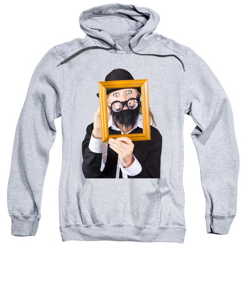 Woman With Empty Picture Frame Sweatshirt