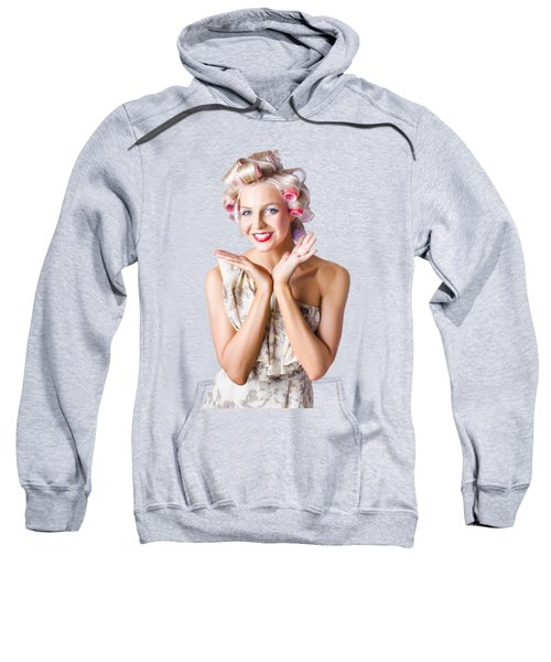 Woman With Rollers In Hair Sweatshirt by Jorgo Photography - Wall Art Gallery