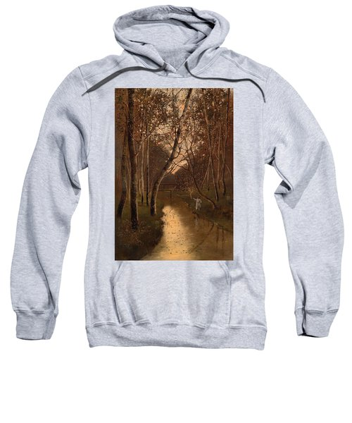 Wooded Landscape With Angler On The Riverside Sweatshirt