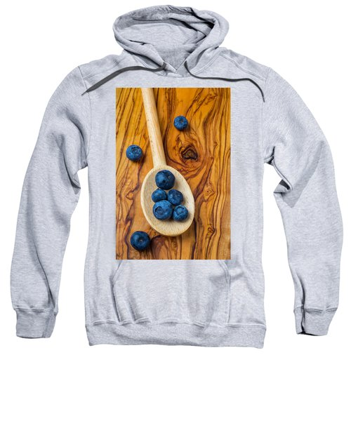 Wooden Spoon And Blueberries Sweatshirt by Garry Gay