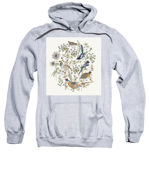 Woodland Edge Birds Placement Sweatshirt by Jacqueline Colley