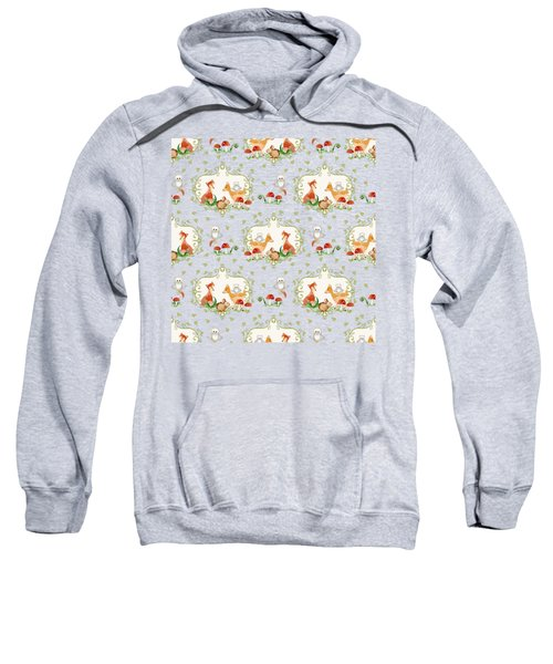Woodland Fairy Tale - Mint Green Sweet Animals Fox Deer Rabbit Owl - Half Drop Repeat Sweatshirt by Audrey Jeanne Roberts