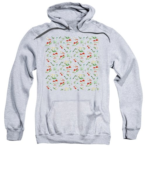 Woodland Fairy Tale - Red Mushrooms N Owls Sweatshirt