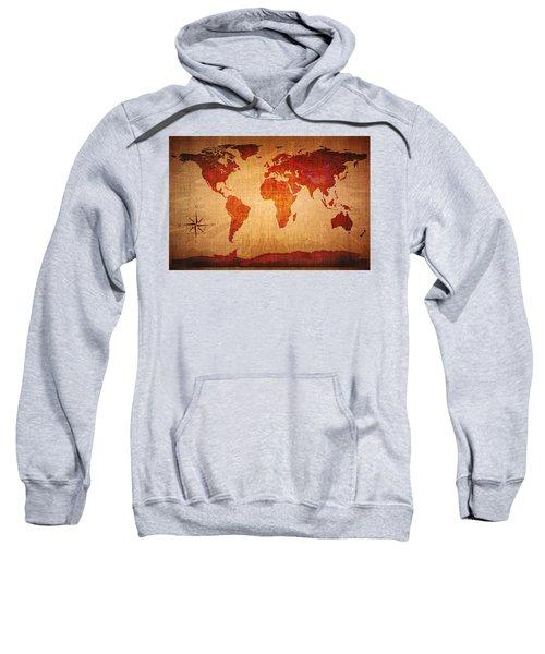 World Map Grunge Style Sweatshirt