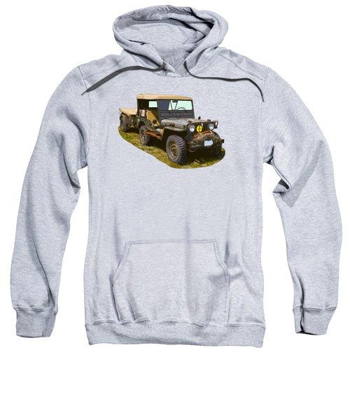 World War Two Army Jeep With Trailer  Sweatshirt