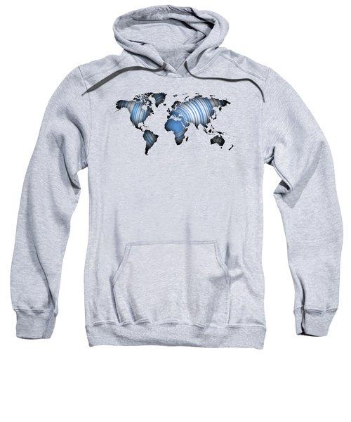 Worldmap Over Blue Circles Sweatshirt
