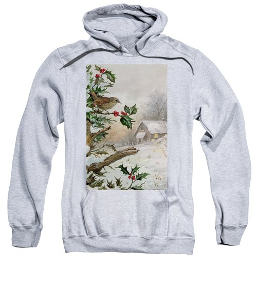 Wren In Hollybush By A Cottage Sweatshirt by Carl Donner