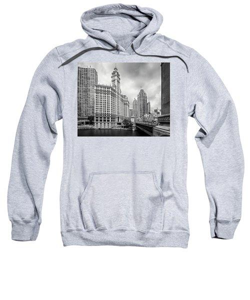 Sweatshirt featuring the photograph Wrigley Building Chicago by Adam Romanowicz