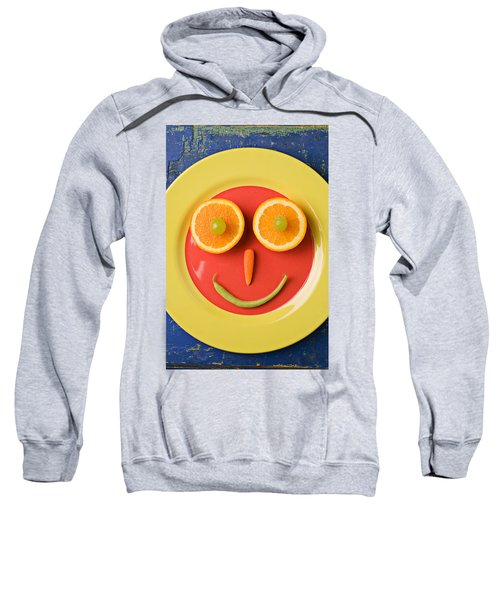 Yellow Plate With Food Face Sweatshirt by Garry Gay