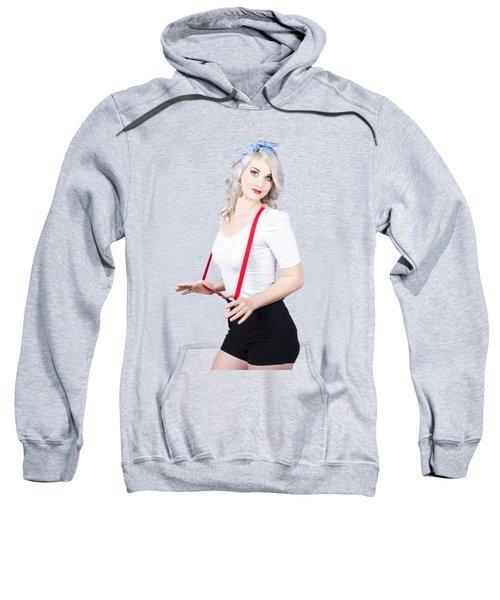 Young Beautiful Caucasian Woman In Retro Styling Sweatshirt