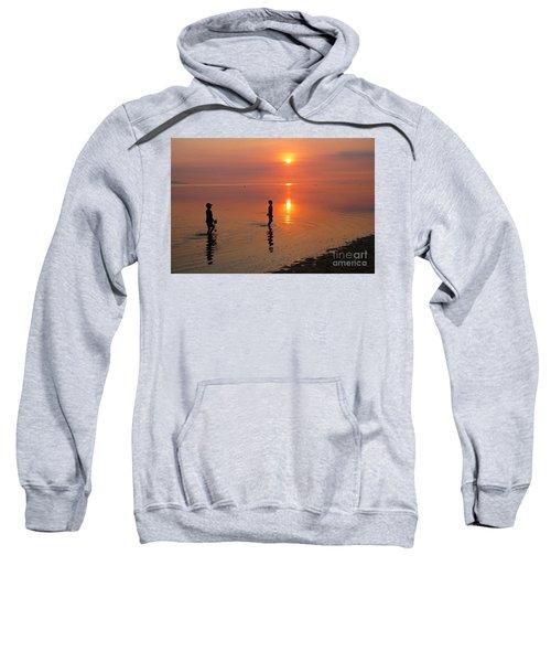 Young Fishermen At Sunset Sweatshirt