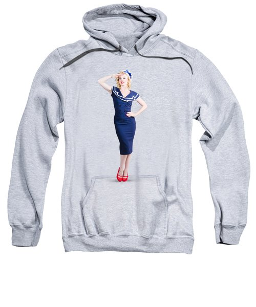 Young Retro Pinup Girl Wearing Sailor Uniform Sweatshirt