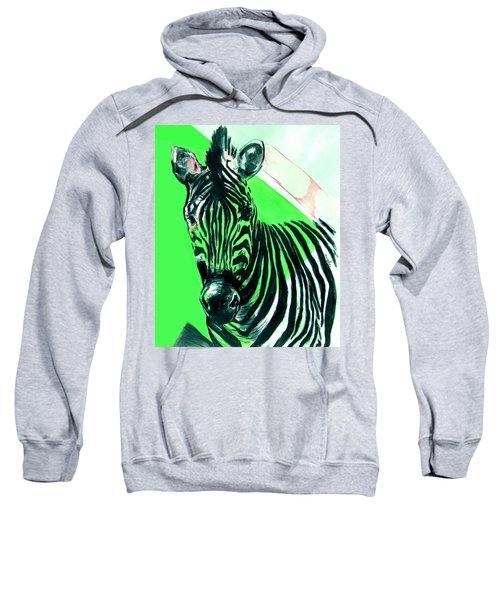 Zebra In Green Sweatshirt