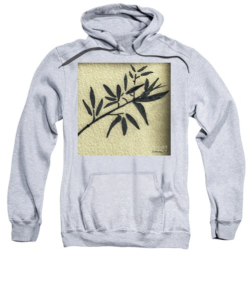 Zen Sumi Antique Botanical 4a Ink On Fine Art Watercolor Paper By Ricardos Sweatshirt