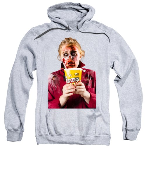 Zombie Woman Watching Scary Movie With Popcorn Sweatshirt by Jorgo Photography - Wall Art Gallery