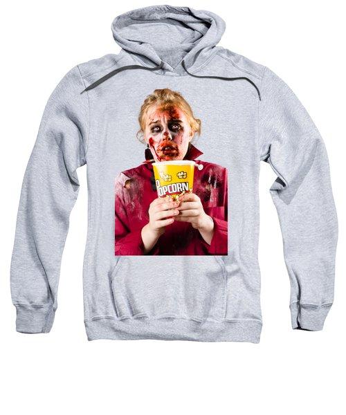 Zombie Woman Watching Scary Movie With Popcorn Sweatshirt