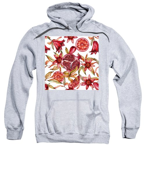 Beautiful Watercolor Seamless Pattern With Fruits And Flowers Of Pomegranate Sweatshirt