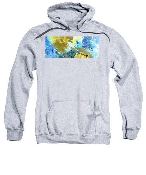Blue And Yellow Abstract Art - Moving Up - Sharon Cummings Sweatshirt