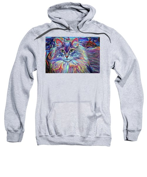Colorful Long Haired Cat Art Sweatshirt