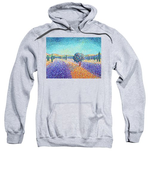 Sweatshirt featuring the painting Lavender Field In Provence by Cristina Stefan