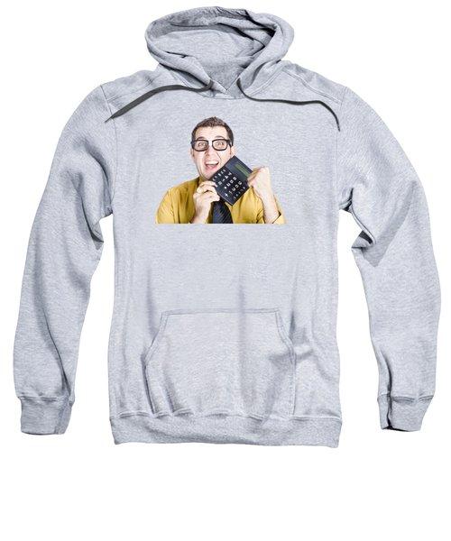 Accounting Man Winning With Calculator Sweatshirt
