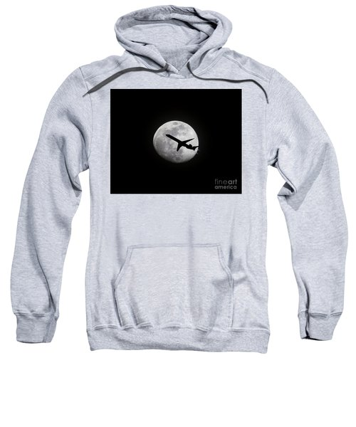 Airliner Passing In Front Of A Full Moon Sweatshirt