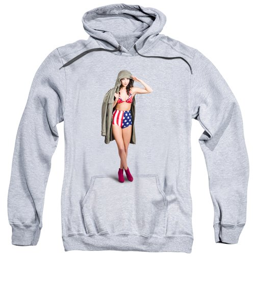 American Army Pinup Girl. Stars And Stripes Salute Sweatshirt