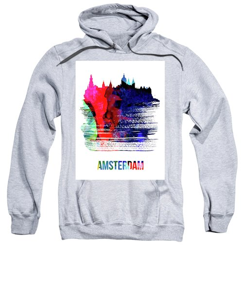 Amsterdam Skyline Brush Stroke Watercolor   Sweatshirt