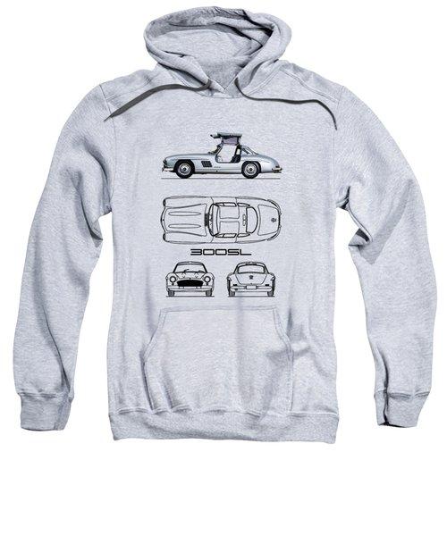 The 300 Sl Gullwing Blueprint - White Sweatshirt