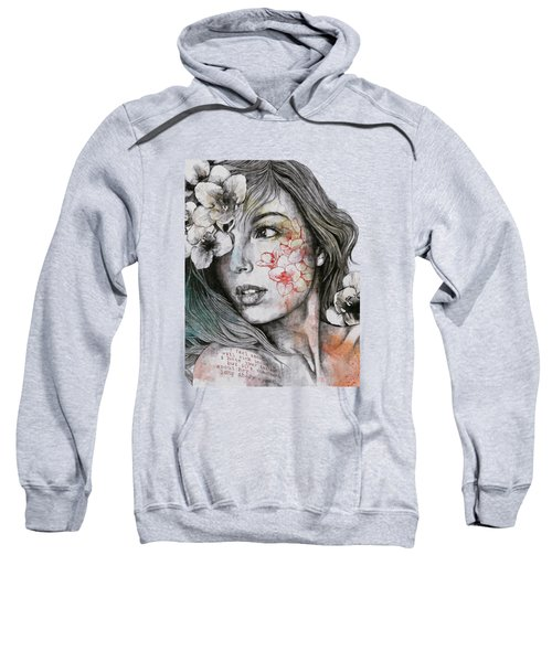 Mascara - Expressive Female Portrait With Freesias Sweatshirt