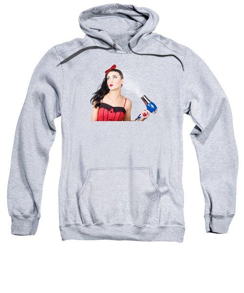 Attractive Brunette Girl Dressed In Red Sweatshirt