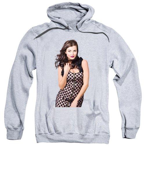 Attractive Vogue Fashion Model With Windblown Hair Sweatshirt