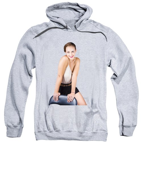 Attractive Young Woman Posing On Chair Sweatshirt