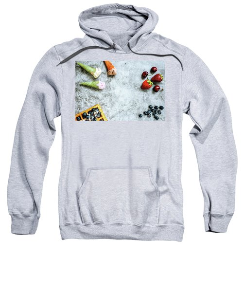 Background Of Tasty And Sweet Foods With Red Fruits And Waffles, Sweatshirt