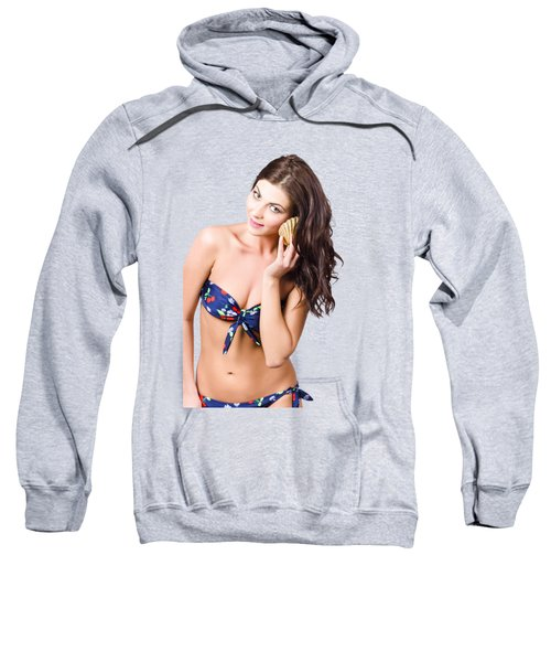 Beautiful Beach Babe Over Studio Background Sweatshirt