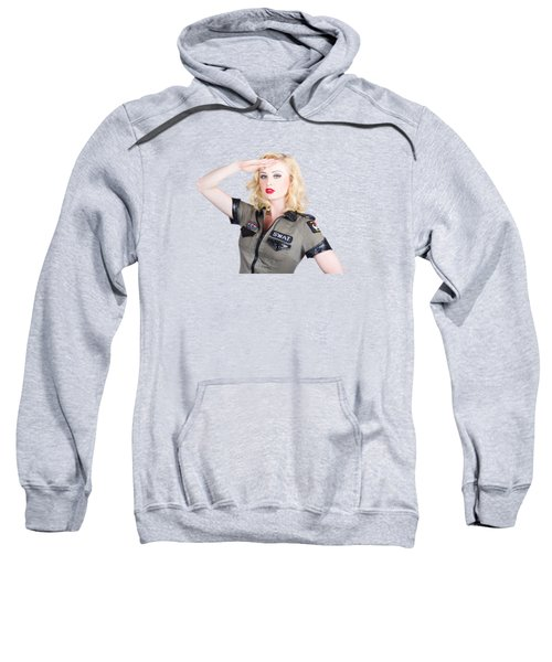 Beautiful Blond Woman In Military Outfit Sweatshirt