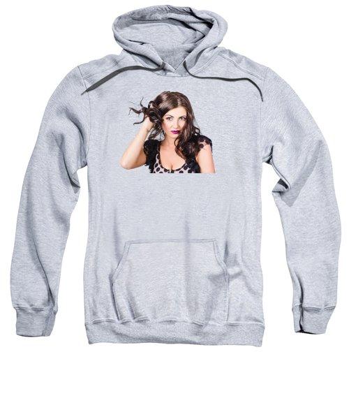 Beautiful Brunette Woman. Model Hair Style Sweatshirt