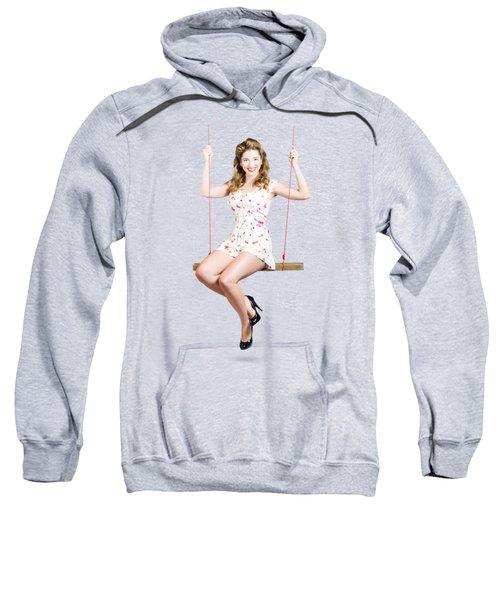 Beautiful Fifties Pin Up Girl Smiling On Swing Sweatshirt