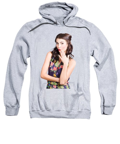 Beautiful Girl With Red Lips Expressing Surprise Sweatshirt