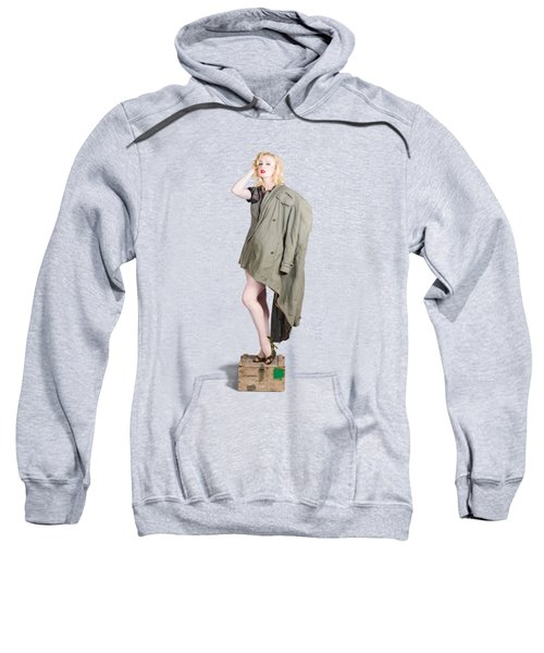 Beautiful Military Pinup Girl. Classic Beauty Sweatshirt
