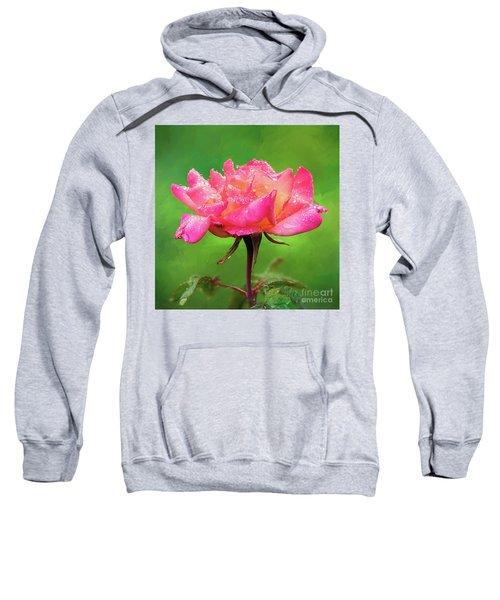 Beautiful Two-tone Rose In The Rain Sweatshirt