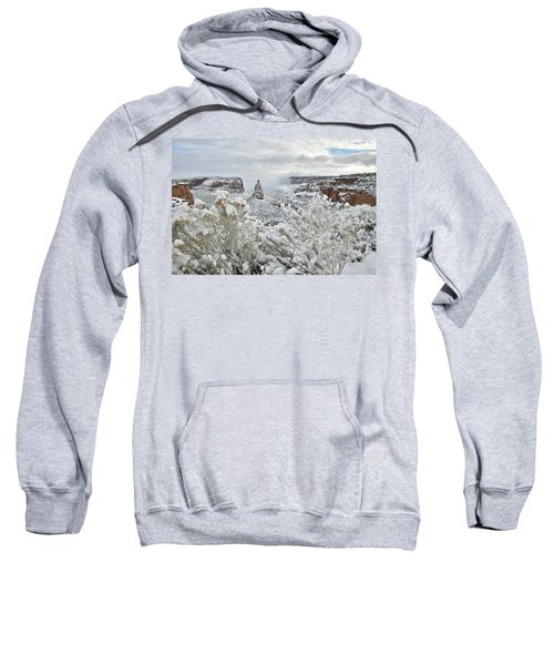 Beautiful Snow Morning Along Rim Rock Drive Sweatshirt