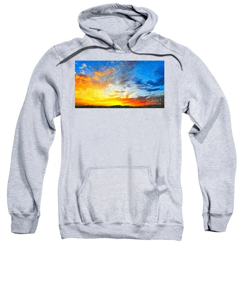Beautiful Sunset In Landscape In Nature With Warm Sky, Digital A Sweatshirt